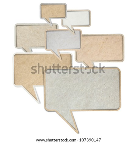 Paper speech bubbles, isolated on white background ( Save Paths For design work ) - stock photo