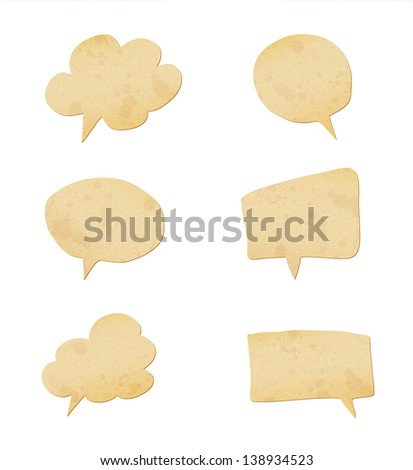 paper speech bubbles set. Raster copy of vector illustration - stock photo