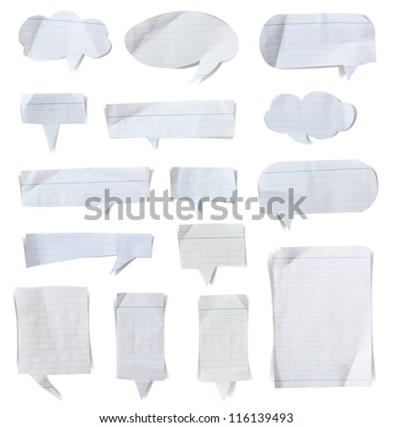 Paper speech bubbles stick on white background, Save paths for design work - stock photo