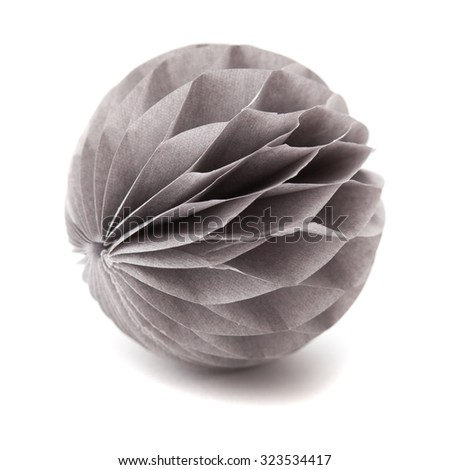 paper sphere ornament isolated on white background - stock photo