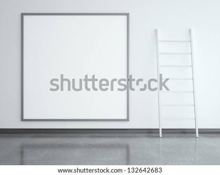 paper stand and stairs in room - stock photo