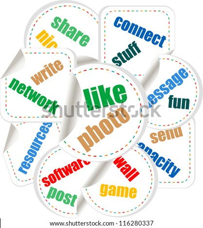 Paper stickers with business concept. raster - stock photo