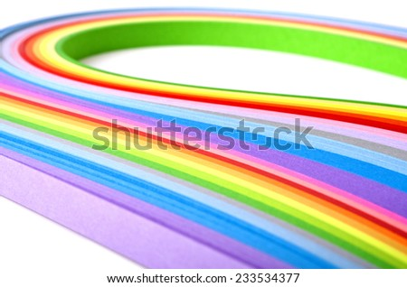 Paper strips in rainbow colors - stock photo