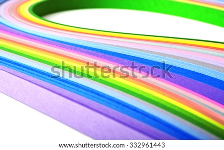 Paper strips in rainbow colors, close up - stock photo