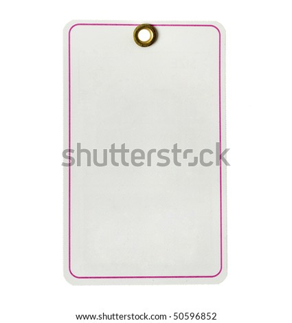 paper tag  with pink stripe  isolated on white - stock photo