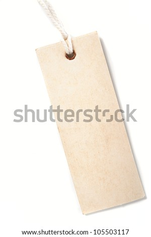 paper tag with rope isolate on white background - stock photo