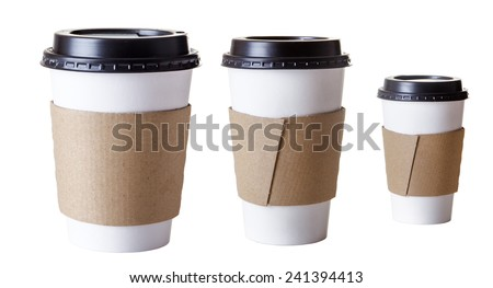 paper take away cups shot in the studio on white background - stock photo