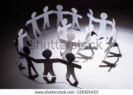 Paper team.Business concept. - stock photo