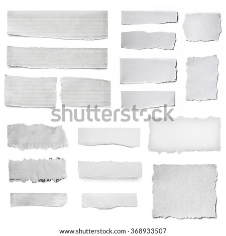 Paper tears collection, isolated on white.  Torn pieces, isolated on white. - stock photo