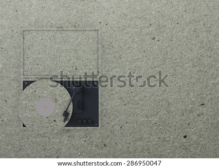 Paper template with turntable shape and place for text. Creative design for placard, brochure, flyer, presentation, invitation. - stock photo