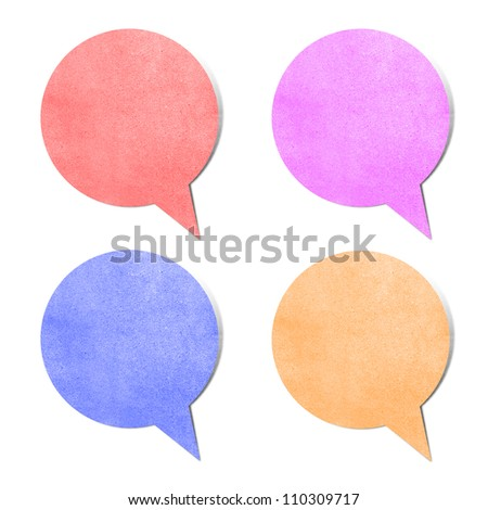Paper texture ,bubble talk tag on white background - stock photo