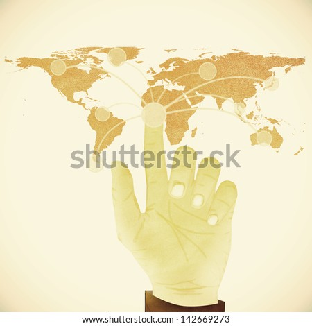 Paper texture ,Hand pressing digital button on world map on white background - stock photo