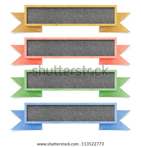 Paper texture ,Header tag recycled paper on white background - stock photo