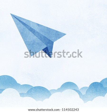 Paper Texture,Paper airplanes flying against sky and clouds - stock photo