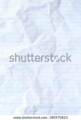 Paper texture. Paper sheet. Crumpled. Vertical.lines paper. - stock photo
