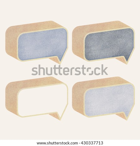 Paper texture ,Talk tag 3D recycled paper on white background - stock photo