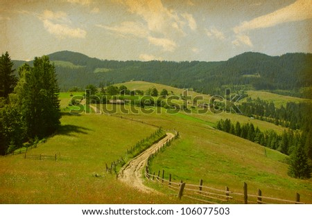 paper texture with rural road in retro style, Ukraine - stock photo