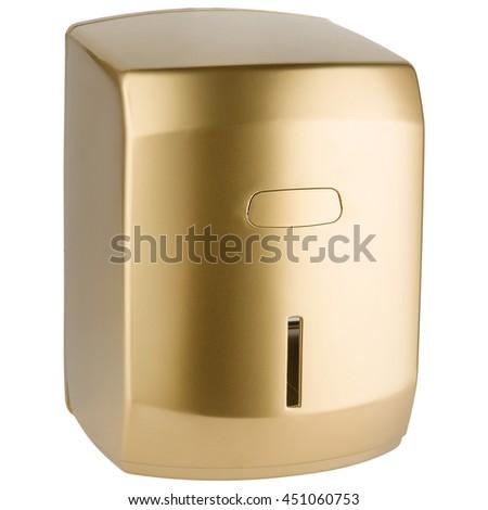 Paper towel dispenser made of matte golden plastic - stock photo