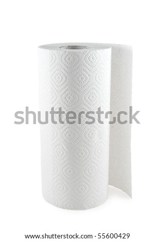 paper towel isolated on white background - stock photo