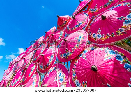 Paper umbrellas Handmade umbrellas of Chiang Mai Asia Thailand,  - stock photo