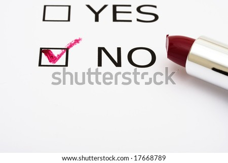 Paper with boxes with the words yes and no with lipstick, voting - stock photo