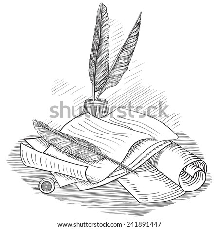 Paper with  inkwell and Pin feather. Set of Retro  scrolls and antique objects at color engraving style.  - stock photo
