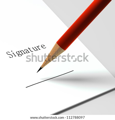 """paper with the words """"signature"""" and pencil - stock photo"""