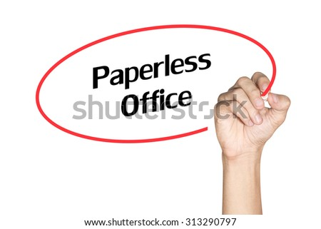 Paperless Office Men arm writing text with highlighter pen on white background - stock photo