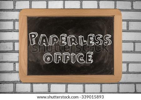 Paperless office on Blackboard. Paperless office on Blackboard on bricks wall - stock photo