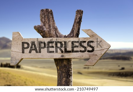 Paperless wooden sign with a desert background  - stock photo