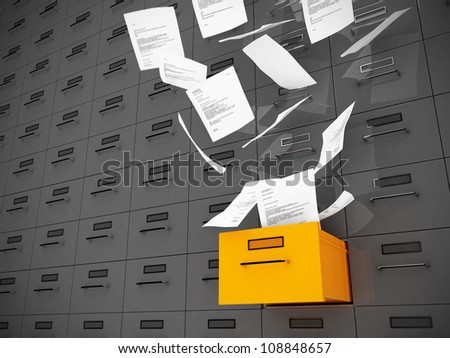 Papers fly out of drawer - stock photo