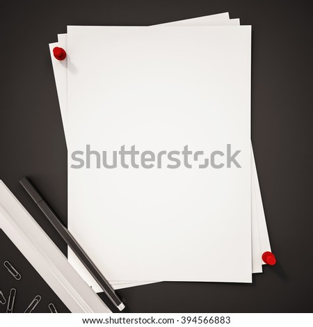 Papers with red pin, ruler, pen and clips on black background, 3d rendered - stock photo