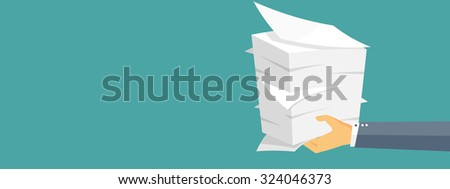 Paperwork. Flat background with paper. Office and emailing. Daily routine. - stock photo