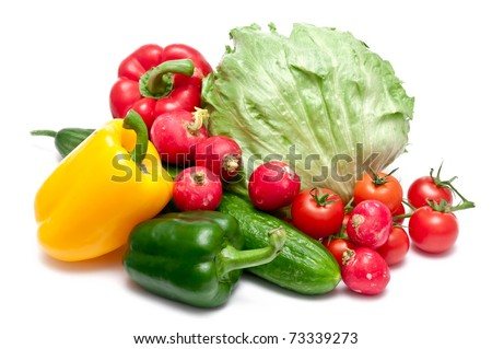 paprika,cucumber,radishes,tomatoes and salad over white background - stock photo