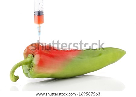 Paprika in two colors with a syringe. Concept for genetically modified foods. - stock photo