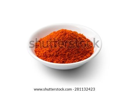 Paprika powder isolated on white background  - stock photo