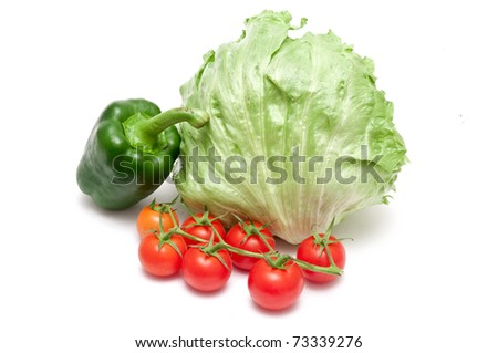 paprika,tomatoes and salad over white background - stock photo