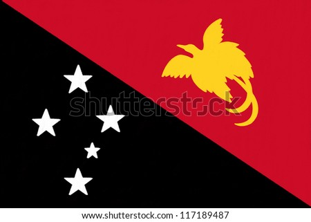 Papua New Guinea flag drawing by pastel on charcoal paper - stock photo