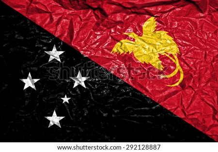 Papua New Guinea vintage flag on old crumpled paper background - stock photo