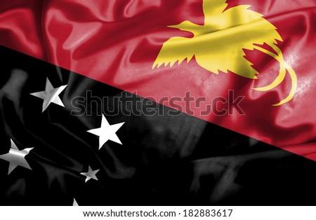 Papua New Guinea waving flag - stock photo