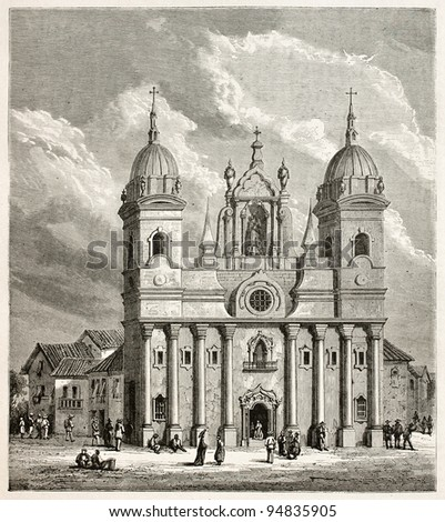 Para cathedral old illustration, Brazil. Created by Riou and Gauchard, published on Le Tour du Monde, Paris, 1867 - stock photo