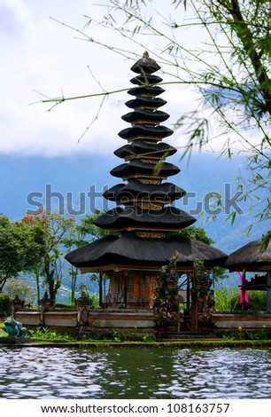 Para Ulun Danu Temple also known as Lake Bratan Temple. The temple located in the central highlands of Bali and is devoted to the goddess of the lake Ida Betara Dewi Ulun Danu. - stock photo
