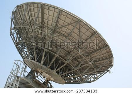 Parabolic antenna in tv station in hong kong - stock photo