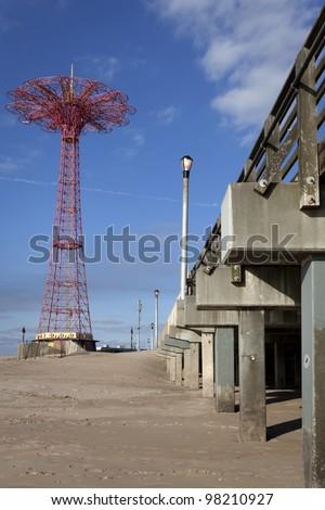 Parachute jump tower, Coney Island, Brooklyn, New York - stock photo