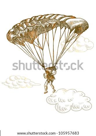 parachutist, hand drawing, vintage processing - stock photo