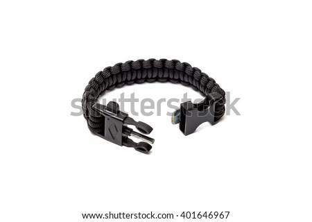 Paracord Braided black bracelet with a buckle isolated - stock photo