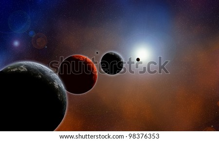 Parade of planets, deep space, color illustration - stock photo