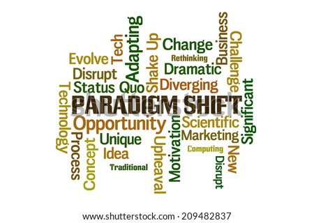 Paradigm Shift Word Cloud on White Background - stock photo