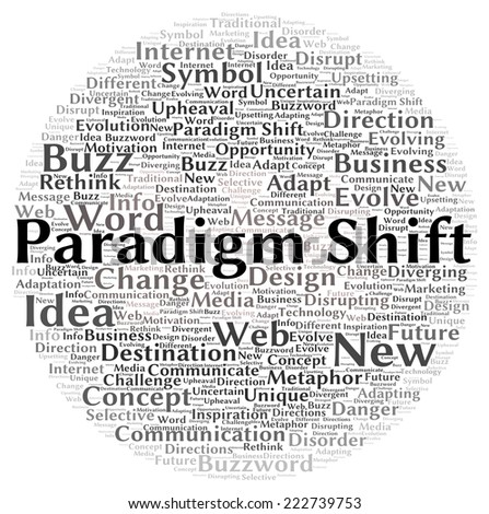 Paradigm shift word cloud shape concept - stock photo