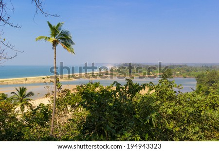 Paradise beach in the state of Maharashtra, India. Located 15 km from the North Goa. View from Redi fort. - stock photo